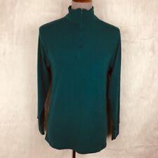 REI Vintage Medium Womens Half Zip Pullover Teal Green Mock Neck Hiking Fitness