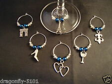 6 'Midnight in Paris' Themed Wine Glass Charms/Party/Favours-Elizabeth*SRAJD