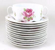17 Pcs VINTAGE ROSENTHAL CHINA CREAM SOUP BOWLS, PLATES WHITE PINK ROSE EMBOSSED