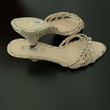 Prada Womens Snakeskin Sandal Ivory Beige & Brown Size 37 1/2 #851