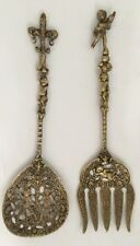 Vintage Set Ornate Brass Slotted Spoon And Fork Decorative Angeles Flower It/383