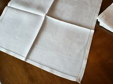 8 Gorgeous Antique Linen Damask Napkins Hemstitched Neoclassical Pattern