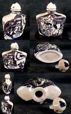 CHINESE - PORCELAIN BLUE YELLOW SNUFF BOTTLE - SIZE 5.5x5cms NR231ET