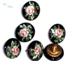 #1446E Vintage Glass buttons Japan Japanese Flowers Limoges Rose Black Pink OLD