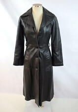 Vintage 70s Retro Goth Black Leather Button Down Duster Jacket Trench Coat Sz XS