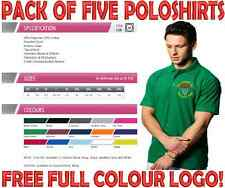 PERSONALISED EMBROIDERED WORKWEAR POLOSHIRTS. PACK OF FIVE