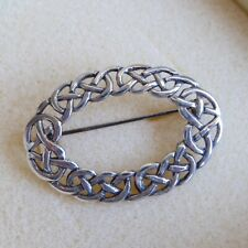 Sterling Silver CELTIC KNOT Brooch in Box H Samuel 925 Scotland Cloak