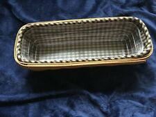Longaberger 2004 Cracker Basket W Hard Plastic Insert And Blue Checked Liner Ec