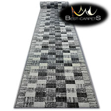 Modern Hall Carpet Runner BCF BASE grey SQUARES Stairs 60-120cm extra long RUGS