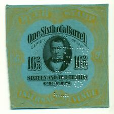 US #REA76d 16 2/3¢ Beer Tax Stamp, bright blue paper, perfin dated 1911,