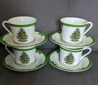Christmas Tree with Gifts Cup Saucer Tea Coffee Set of 4 Yule Tide Japan