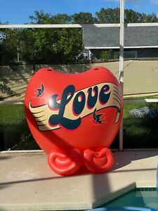 Giant 6ft x 4ft  Inflatable Heart Blow Up Pool Float Matte Vinyl & 2 small heart