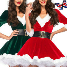 Mrs Santa Claus Christmas Fancy Dress Xmas Ladies Women Hooded Dress Costume UK