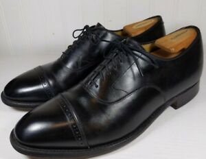 Johnston & Murphy Artisocraft Black Calf Semi Brogue Cap Toe  Size 10 D