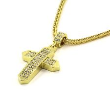"Mens 14k Gold Filled Fully Cz Cross Pendant Hip-Hop 24"" Franco Necklace Chain 05"