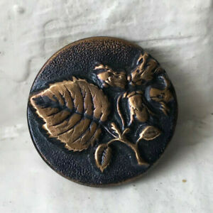 Antique brass picture button~high relief~very detailed LEAF and flowers~27mm