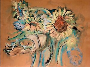 ORIGINAL pastels painting on paper artwork from artist signed flowers art
