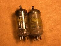 Matched Pair 1959 Raytheon 12AU7 Tubes Black Plate Halo Getter Strong Balanced G