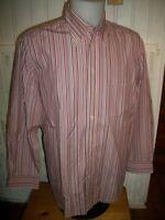 Chemise manche longue coton rayé blanc/rouge GANT L 42 80's pur ply poplin brodé