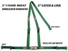 Rat Rod Racing Latch & Link Floor Mount Shoulder Harness Bolt In Dark Green