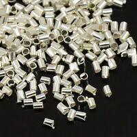LOT DE 300 PERLES A ECRASER TUBE METAL ARGENTE CLAIR 1,5 MM - CREATION BIJOUX