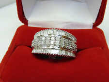 Natural Real 1 CTW Round & Baguette Diamond Cluster Band Ring Silver Sz 7