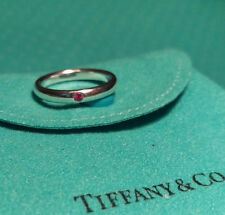 Tiffany & Co. Elsa Peretti Band Ring with Pink Sapphire Sterling Silver, Size 5