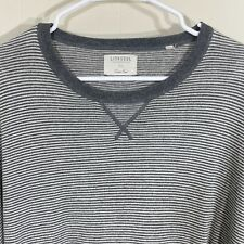 Linksoul Mens Size Xl Cotton Cashmere Gray Striped Sweater Elbow Patches