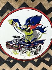Vintage Rat Fink Porcelain Sign Steel Gas Oil Garage Pump Plate Hot Rod Batman