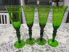 "4 Vintage Emerald Green Glass 9 1/2"" Wine Champagne Flutes EC"