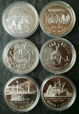 Lot of Six Canada Proof $1 Commemorative Silver Dollars in Capsules