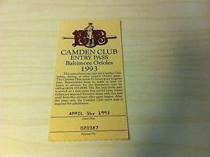 Camden Club Entry Pass Baltimore Orioles April 16, 1993 Baseball Ticket RARE old