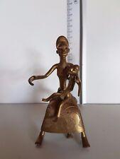 ART AFRIQUE BRONZE FIGURINE STATUE FEMME AFRICAINE ET ENFANT EPOQUE COLONIALE