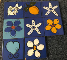 More details for collectable hand decorated 'cld italian' painted art tiles x 8 signed on rear