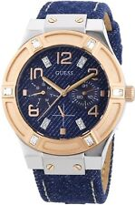 * nuevo * GUESS Damas Jet Set Reloj de cristal de oro Rosa Denim W0289L1-RRP £ 159