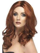 Long Auburn Wavy Wig, Superstar Wig, Filmstar Fancy Dress Accessory #AU