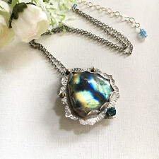 Labradorite & London Blue Topaz 925 silver handmade pendant chain necklace