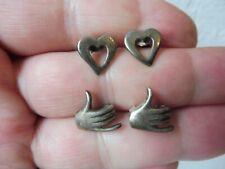 2 Paar schöne ,alte Ohrringe__Ohrstecker__925 Silber__Hände und Herzen