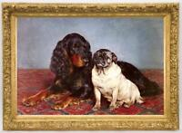 """Hand-painted Old Master-Art Antique Animal Oil Painting dog on canvas 24""""X36"""""""