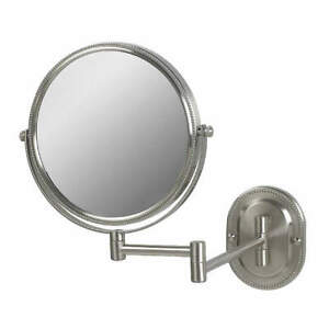 SEE ALL INDUSTRIES JNSA897 Wall Makeup Mirror,8 In.,Nickel,7X