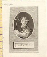 1793 Antico Georgiano Stampa ~ King Canute I