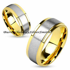 Stainless Steel & Gold Name Ring Hand Stamping Optional   BCSS-M4586