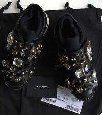 NIB Dolce & Gabbana Black Leather Crystal Embellished Jeweled Sneakers 35 EU