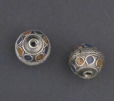 African Blue-Orange Enamel Berber Beads (Set of 2) Morocco