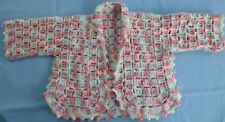 BABY HAND CROCHET JACKET, MULTI COLOURED SUIT NEW BORN TO 3 MONTH OLD (39)