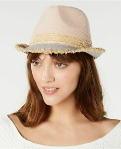 STEVE MADDEN colorblocked fedora women's hat - Blush/Natural