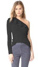$295 Rebecca Taylor Lost Side Alpaca Sweater Large 12 Black Sweeping Ruffle NWT