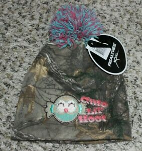 NEW Toddler Baby Hat Cute Lil' Hoot Camo REALTREE Xtra Beanie Girls Owl