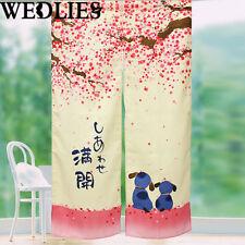 1pc Japanese Noren Doorway Curtain Romantic Blossom Cherry Sakura Dog 150 x 85cm