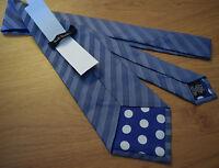 "Paul Smith BLUE Tie ""MAINLINE"" Stripe Tie 100% Silk 9cm Made in Italy"